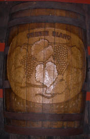 Carved oak stave wine barrel from Sebastiani Winery