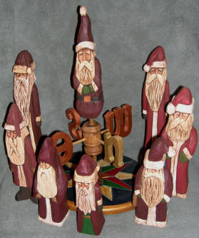Carved Santas - Original Basswood Santa Carvings by Tom Crowl