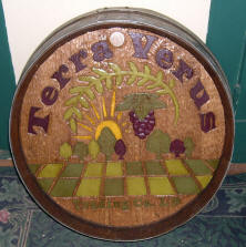 Hand carved wine barrel head