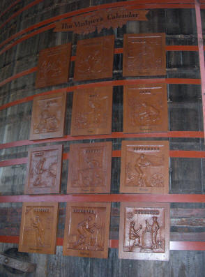 Hand carved Vintner's Calendar by the late Earle Brown.