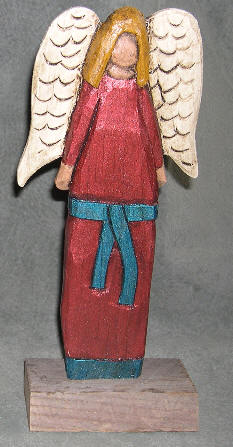 Shimmering Angel hand carved folk art