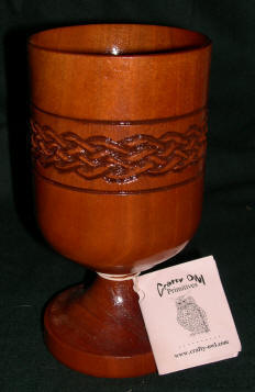 Cherry Wood Goblet with hand carved Celtic knot band.