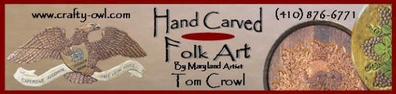 Hand Carved Santas and Santa Folk Art Wood Carvings by Maryland Artist Tom Crowl.