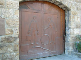Hand carved door by the late Earle Brown.