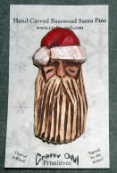 Carved Santa Pin B - Hand carved Santas by Crafty Owl