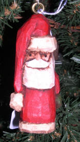 Carved Santa Wooden Christmas Tree Ornament
