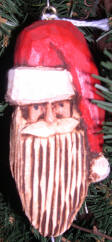 Carved Santa Head - Wooden Christmas Tree Ornament