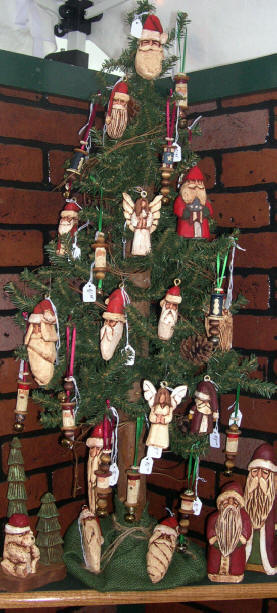 Wooden Christmas Ornaments - hand carved wood Christmas decorations.