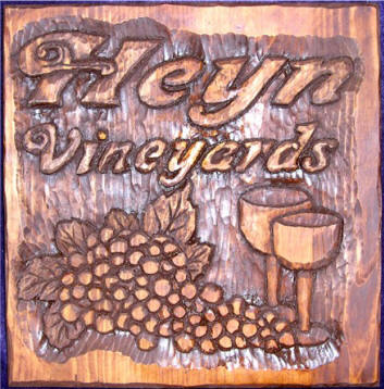 Hand Carved Wooden Vineyard Sign