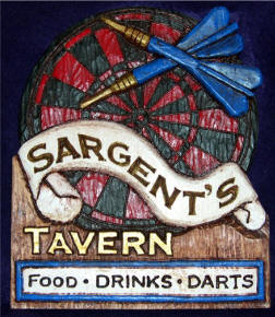 hand carved wood tavern sign