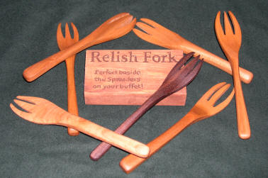 Small wooden relish forks.